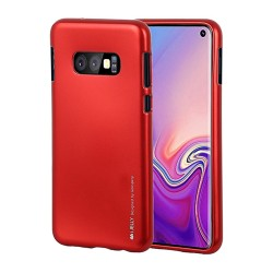Funda Gel Tpu Mercury i-Jelly Metal para Samsung Galaxy S10 Plus color Roja