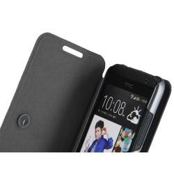 Funda Soporte Piel Texturizada Negra para HTC Desire 300