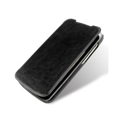 Funda Piel Flip Cover HTC Desire 500 Color Negra