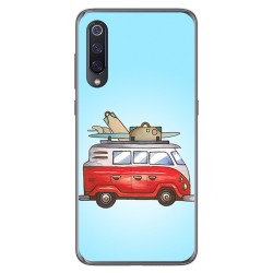 Funda Gel Tpu para Xiaomi Mi 9 diseño Furgoneta Dibujos