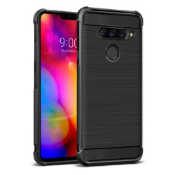 Funda Gel Tpu Anti-Shock Carbon Negra para Lg V40 ThinQ