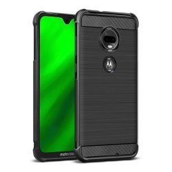 Funda Gel Tpu Anti-Shock Carbon Negra para Motorola Moto G7 / G7 Plus