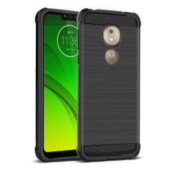 Funda Gel Tpu Anti-Shock Carbon Negra para Motorola Moto G7 Play