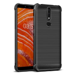 Funda Gel Tpu Anti-Shock Carbon Negra para Nokia 7.1