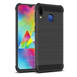 Funda Gel Tpu Anti-Shock Carbon Negra para Samsung Galaxy M20