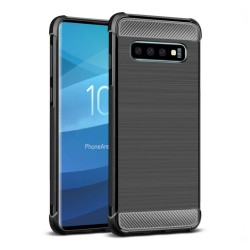 Funda Gel Tpu Anti-Shock Carbon Negra para Samsung Galaxy S10
