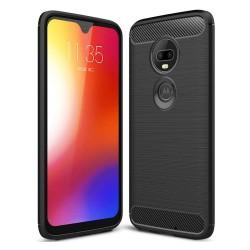 Funda Gel Tpu Tipo Carbon Negra para Motorola Moto G7 / G7 Plus