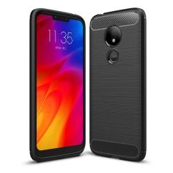Funda Gel Tpu Tipo Carbon Negra para Motorola Moto G7 Play