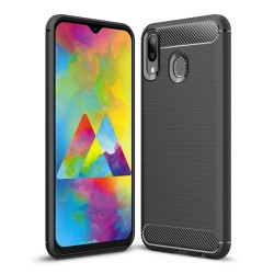 Funda Gel Tpu Tipo Carbon Negra para Samsung Galaxy M20