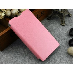 Funda Soporte Piel Texturizada Rosa Sony Xperia Z1 Compact