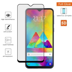 Protector Cristal Templado Completo 5D Full Glue Negro para Samsung Galaxy M20 Vidrio
