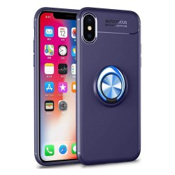 Funda Magnetica Soporte con Anillo Giratorio 360 para Iphone XS Max color Azul