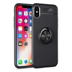 Funda Magnetica Soporte con Anillo Giratorio 360 para Iphone XS Max color Negra