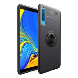 Funda Magnetica Soporte con Anillo Giratorio 360 para Samsung Galaxy A7 2018 color Negra