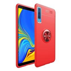 Funda Magnetica Soporte con Anillo Giratorio 360 para Samsung Galaxy A7 2018 color Roja