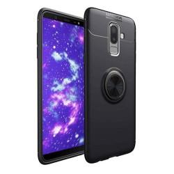 Funda Magnetica Soporte con Anillo Giratorio 360 para Samsung Galaxy j6+ Plus color Negra