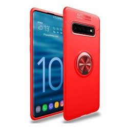 Funda Magnetica Soporte con Anillo Giratorio 360 para Samsung Galaxy S10 Plus color Roja