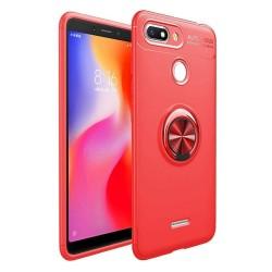 Funda Magnetica Soporte con Anillo Giratorio 360 para Xiaomi Redmi 6 color Roja