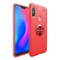Funda Magnetica Soporte con Anillo Giratorio 360 para Xiaomi Redmi Note 6 Pro color Roja
