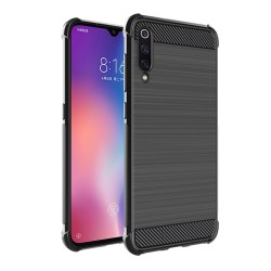 Funda Gel Tpu Anti-Shock Carbon Negra para Xiaomi Mi 9