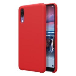 Funda Silicona Líquida Ultra Suave para Huawei P20 color Roja