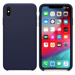 Funda Silicona Líquida Ultra Suave para Iphone Xs Max color Azul oscura