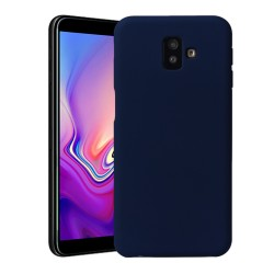 Funda Silicona Líquida Ultra Suave para Samsung Galaxy J6+ Plus color Azul oscura