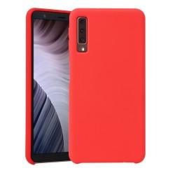 Funda Silicona Líquida Ultra Suave para Samsung Galaxy A7 (2018) color Roja