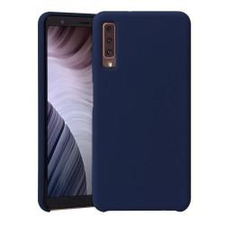 Funda Silicona Líquida Ultra Suave para Samsung Galaxy A7 (2018) color Azul oscura