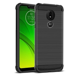 Funda Gel Tpu Anti-Shock Carbon Negra para Motorola Moto G7 Power