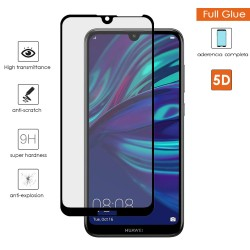 Protector Cristal Templado Completo 5D Full Glue Negro para Huawei Y7 2019 Vidrio