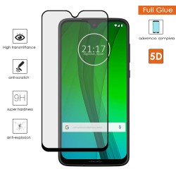 Protector Cristal Templado Completo 5D Full Glue Negro para Motorola Moto G7 / G7 Plus Vidrio