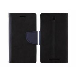 Funda Soporte Piel Negra Fancy para Sony Xperia E C1605 Stand