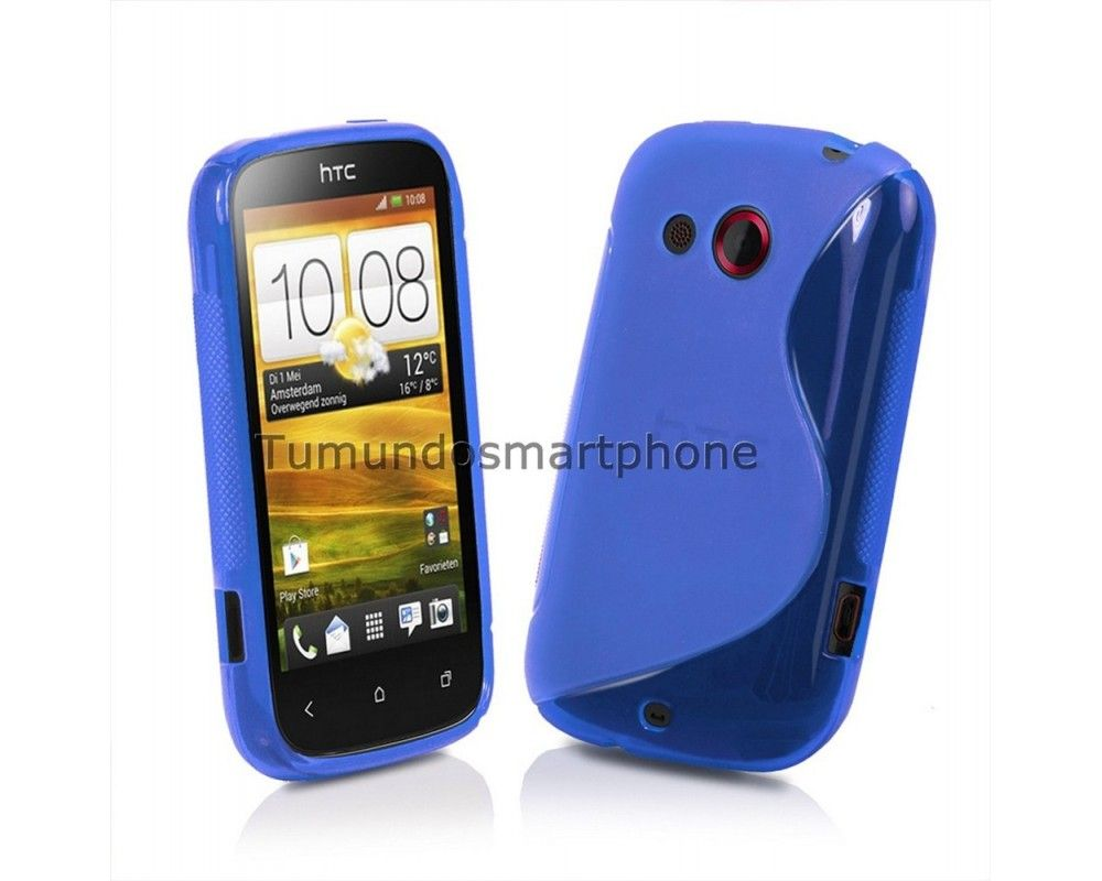 Funda Gel Tpu HTC Desire C S Line Color Azul