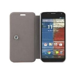 Funda Soporte Piel Texturizada Negra para Motorola Moto X