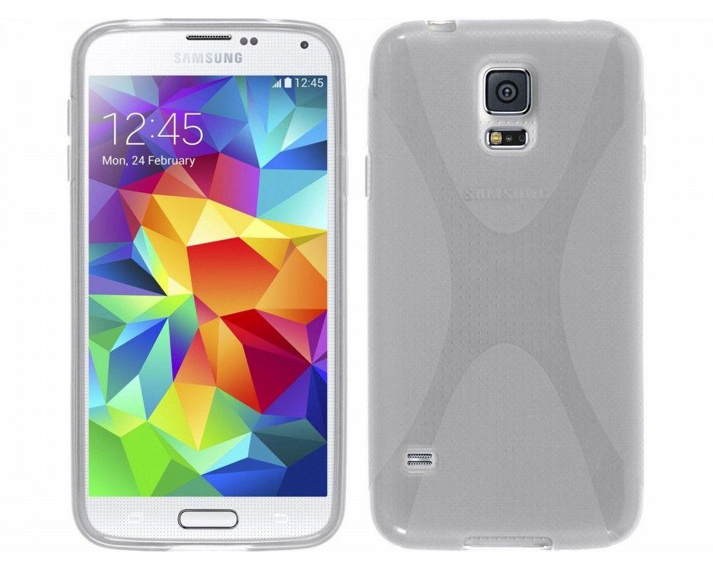 Funda Gel Tpu Samsung Galaxy S5 / S5 Neo Modelo X Line Color Transparente