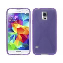 Funda Gel Tpu Samsung Galaxy S5 I9600 / G900 Modelo X Line Color Morada
