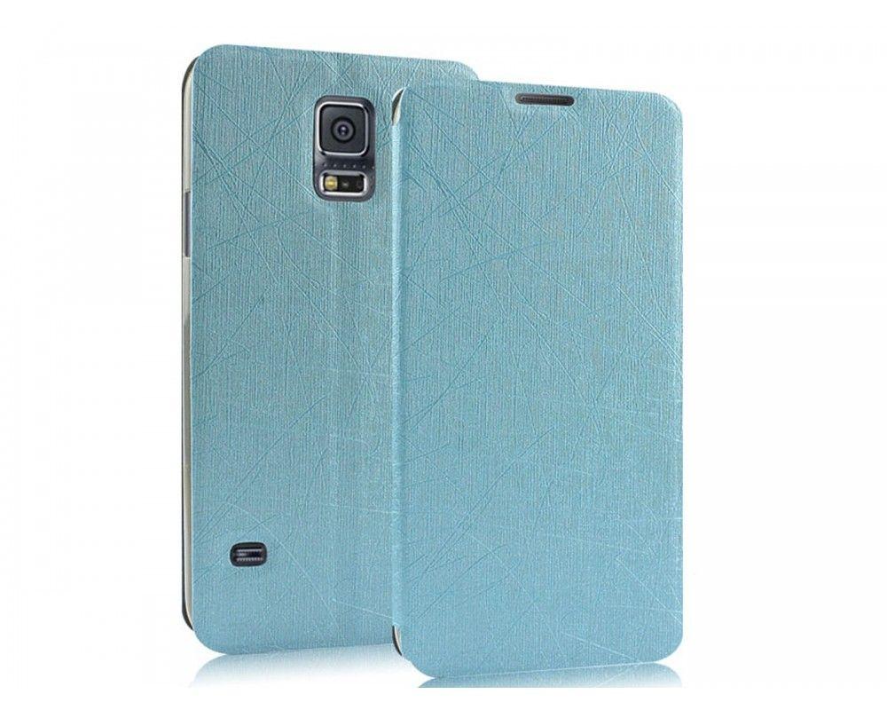 Funda Soporte Piel Texturizada Azul para Samsung Galaxy S5 / S5 Neo