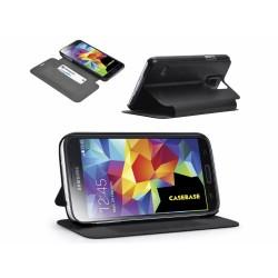 Funda Soporte Casebase Piel Negra para Samsung Galaxy S5 / S5 Neo