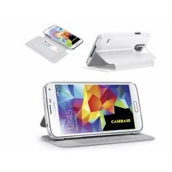 Funda Soporte Casebase Piel Blanca para Samsung Galaxy S5 / S5 Neo