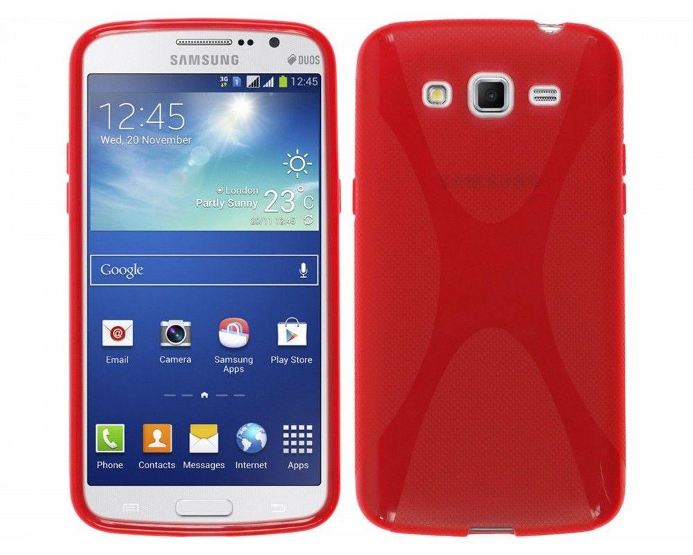 Funda Gel Tpu Samsung Galaxy Grand 2 Ii G7102 / G7105 Modelo X Line Color Rojo