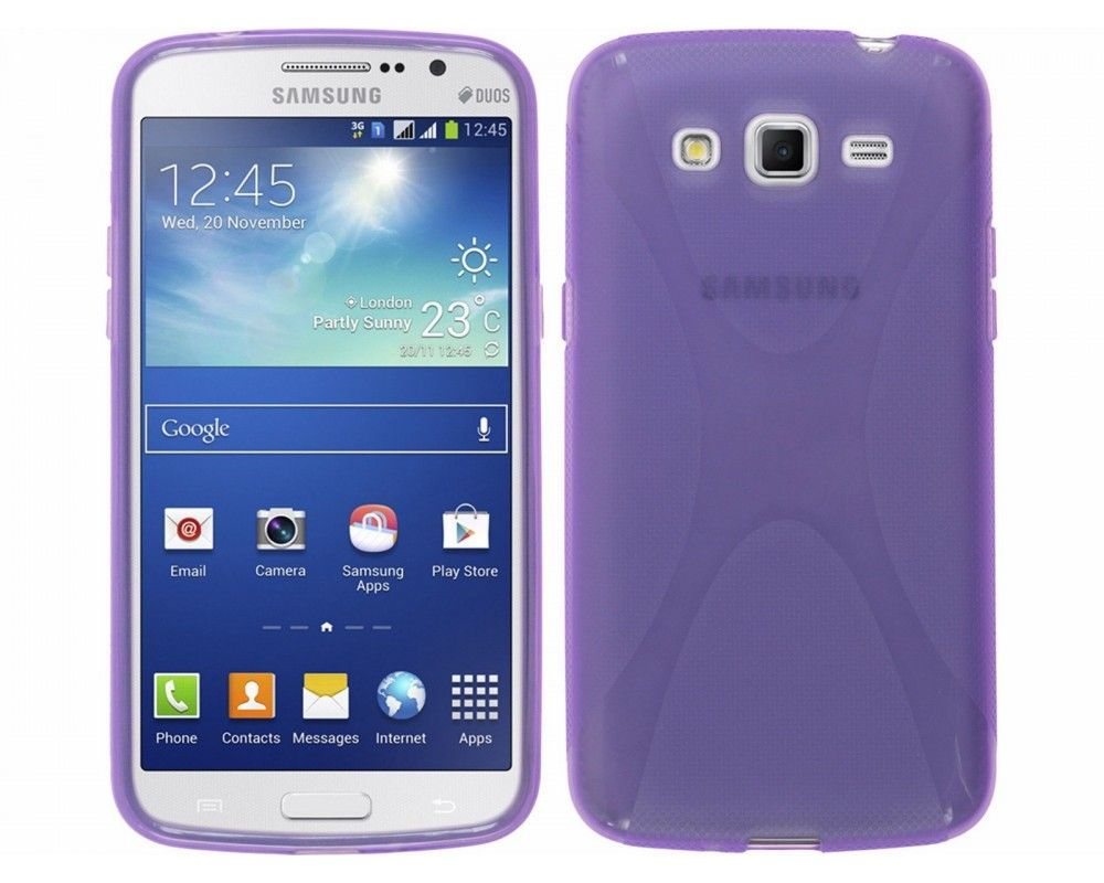 Funda Gel Tpu Samsung Galaxy Grand 2 Ii G7102 / G7105 Modelo X Line Color Morada