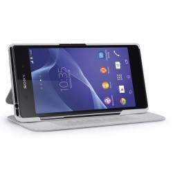 Funda Soporte Casebase Piel Blanca para Sony Xperia Z2