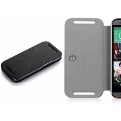 Funda Soporte Piel Texturizada Negra para HTC One 2 (M8)