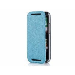 Funda Soporte Piel Texturizada Azul para HTC One 2 (M8)