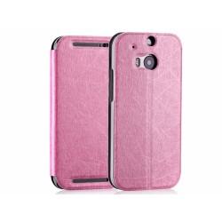 Funda Soporte Piel Texturizada Rosa para HTC One 2 (M8)