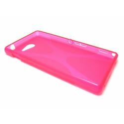 Funda Gel Tpu Sony Xperia M2 Aqua Modelo X Line Color Rosa