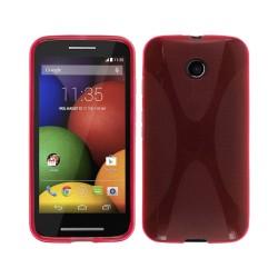 Funda Gel Tpu Motorola Moto E Modelo X Line Color Roja