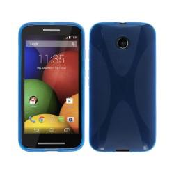 Funda Gel Tpu Motorola Moto E Modelo X Line Color Azul