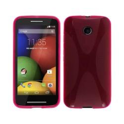 Funda Gel Tpu Motorola Moto E Modelo X Line Color Rosa